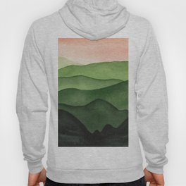 Watercolor layers of mountains Hoody