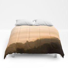 Modern Minimalist landscape Sepia Sunset Parallax Mountain Silhouette Comforters