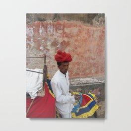 Caparisoned Elephant Rider at Amber Fort in Jaipur, India (2004) Metal Print