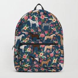 Horse Florals - navy Backpack