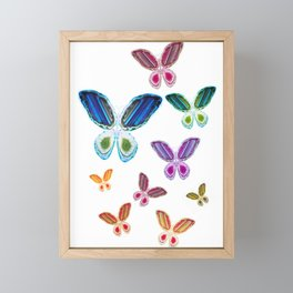 A Rainbow of Agate Butterflies Framed Mini Art Print