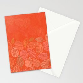 LEAVES ENSEMBLE ORANGE FLAME Stationery Cards
