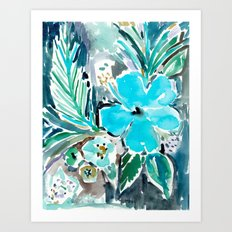 BLUE HAWAII HIBISCUS Art Print