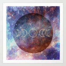 Moon Phases Rose Gold Mandala Art Print