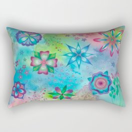 Whimsical colourful wild flowers art painting Rectangular Pillow