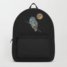 Owl, See the Moon (sq Barred Owl) Backpack