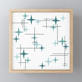 Mid Century Modern Stars (Teal) Framed Mini Art Print