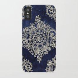 Cream Floral Moroccan Pattern on Deep Indigo Ink iPhone Case