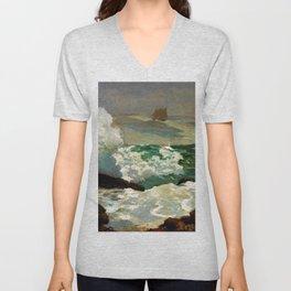 Winslow Homer1 - On A Lee Shore - Digital Remastered Edition Unisex V-Neck