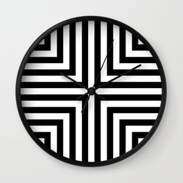 Simple Geometric Cross Pattern - White on Black - Mix & Match with Simplicity of life Wall Clock