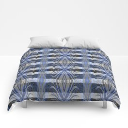 Feathery Indigo Antiqued Boho Geometric Print Comforters