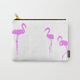 We Are The Three Flamingos Silhouette In Pink Carry-All Pouch