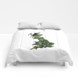 Great Britain Map Print Abstract in Army Camouflage Greens - A great talking piece for the home! Comforters