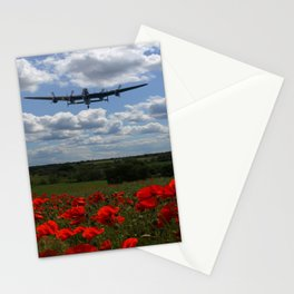 Lancaster Spitfire and Hurricane over poppy field Stationery Cards