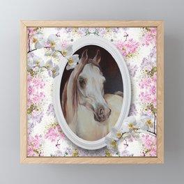 White orchids & Arabian mare Framed Mini Art Print