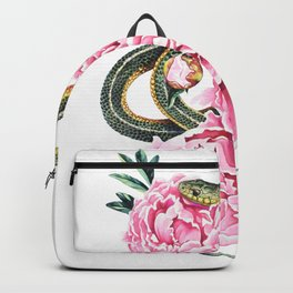 Garter Snake and Peonies Backpack