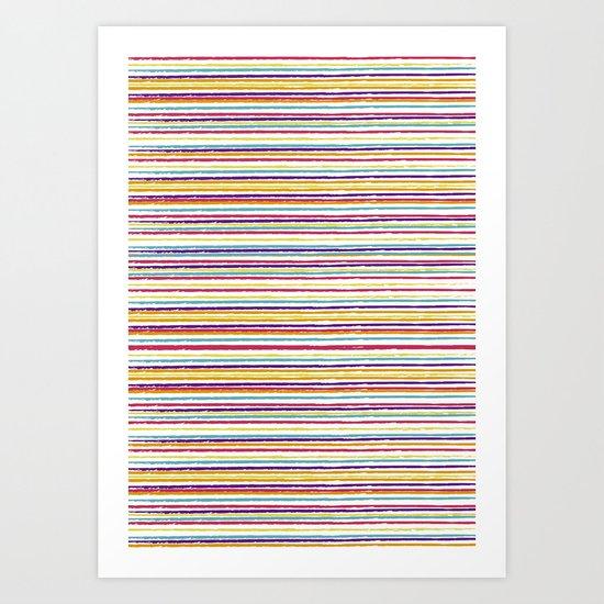 SUMMER CRAYON STRIPES Art Print