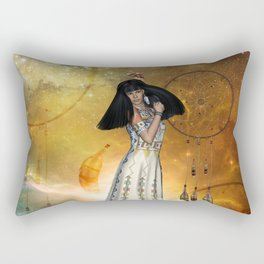 Beautiful amarican indian with dreamcatcher Rectangular Pillow