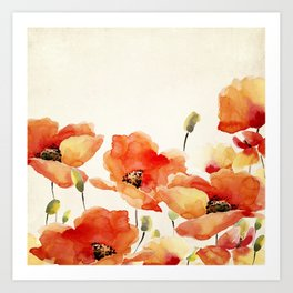 Poppy Flower Meadow- Floral Summer lllustration Art Print