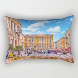 People in Nice Plaza with Fountain Rectangular Pillow