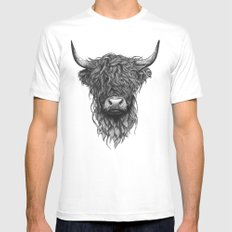 Highland Cattle White Mens Fitted Tee LARGE