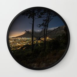 Cape Town city and Table Mountain at night Wall Clock