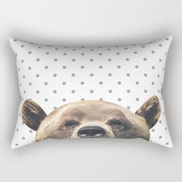 Bear - Gray Dots Rectangular Pillow