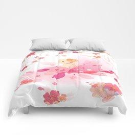 Sweet minimalist dog sakura Comforters