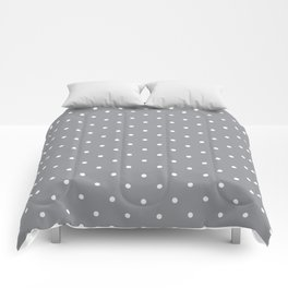 Small White Polka Dots with Grey Background Comforters