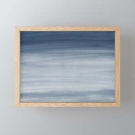 Touching Navy Blue Watercolor Abstract #1 #painting #decor #art #society6 Framed Mini Art Print
