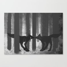 foxes in the forest Canvas Print