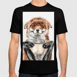 """ Morning fox "" Red fox with her morning coffee T-shirt"