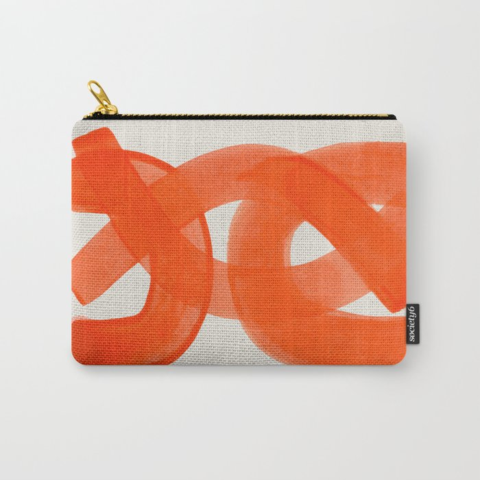 Mid Century Modern Abstract Painting Orange Watercolor Brush Strokes Carry-All Pouch