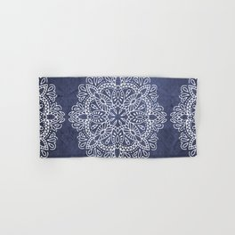 Mandala Vintage White on Ocean Fog Gray Hand & Bath Towel