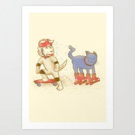 Skateboard dogs don't like roller skate cats Art Print