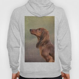 Dog breed long haired dachshund portrait oil painting Hoody