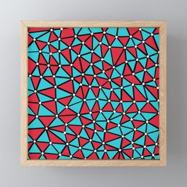 African Triangles Red and Blue Framed Mini Art Print