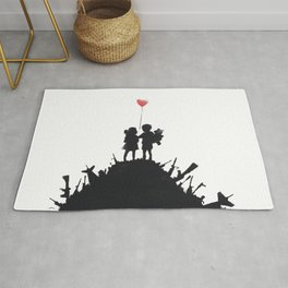 Banksy Two Children With Love Balloon At War Destruction Garbage, Streetart Street Art, Grafitti, Ar Rug