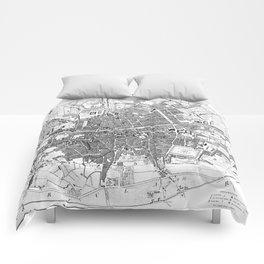 Vintage Map of Dublin Ireland (1797) BW Comforters