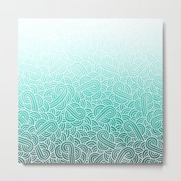 Faded teal blue and white swirls doodles Metal Print