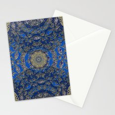 Blue Gold Lacy Mandalas Stationery Cards