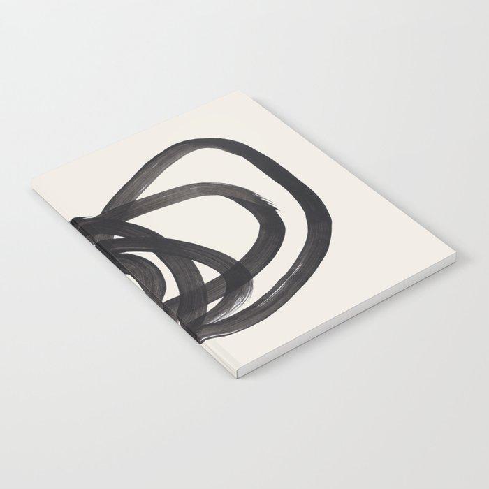Mid Century Modern Minimalist Abstract Art Brush Strokes Black & White Ink Art Spiral Circles Notebook