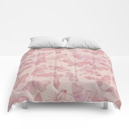 Butterfly Pattern soft pink pastel Comforters