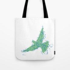 Bird Fly No. 2 (Blue/Green) Tote Bag