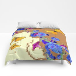 Coffee & Cream Blue Flowers butterfly Art Comforters