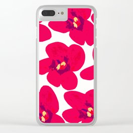 Red Retro Flowers #decor #society6 #buyart Clear iPhone Case