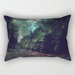 Train Tracks Next Stop Anywhere Teal Green Rectangular Pillow