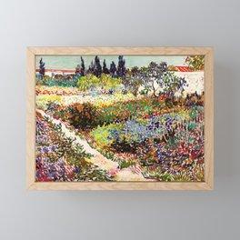 Vincent Van Gogh Flowering Garden Framed Mini Art Print