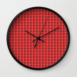 black Stars pattern on red back ground Wall Clock
