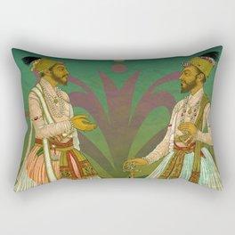 2 Mughals on Green Rectangular Pillow
